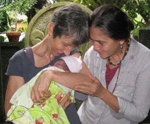 Brenda with Ibu Robin at Bumi Sehat.