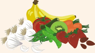 raw fruits and raw veggies -- illustrations copyright © 2014 Ellie DeSilva