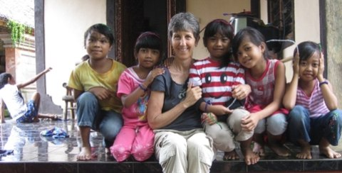 Girls just want to have fun !  Brenda and the little ones at Widya Guna.