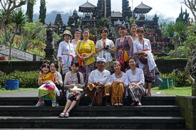 Pura Besakih, the Mother Temple for the Balinese. We all dressed in kabaya, sarong and sash to enter the temple(s). Photo by Nami Taketani, Bali, February 2014
