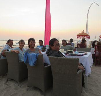 Sunset celebration dinner with the Bali team on Jimbaran Beach, Bali, 2014