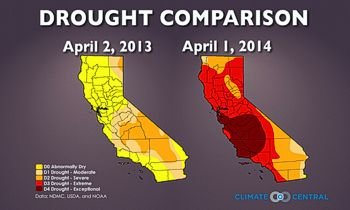 Drought Comparison April 2013 & April 2014 from ClimateCentral.org