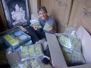 Boxes and boxes of More Than A Nut Milk Bags make Brenda Hinton very happy!