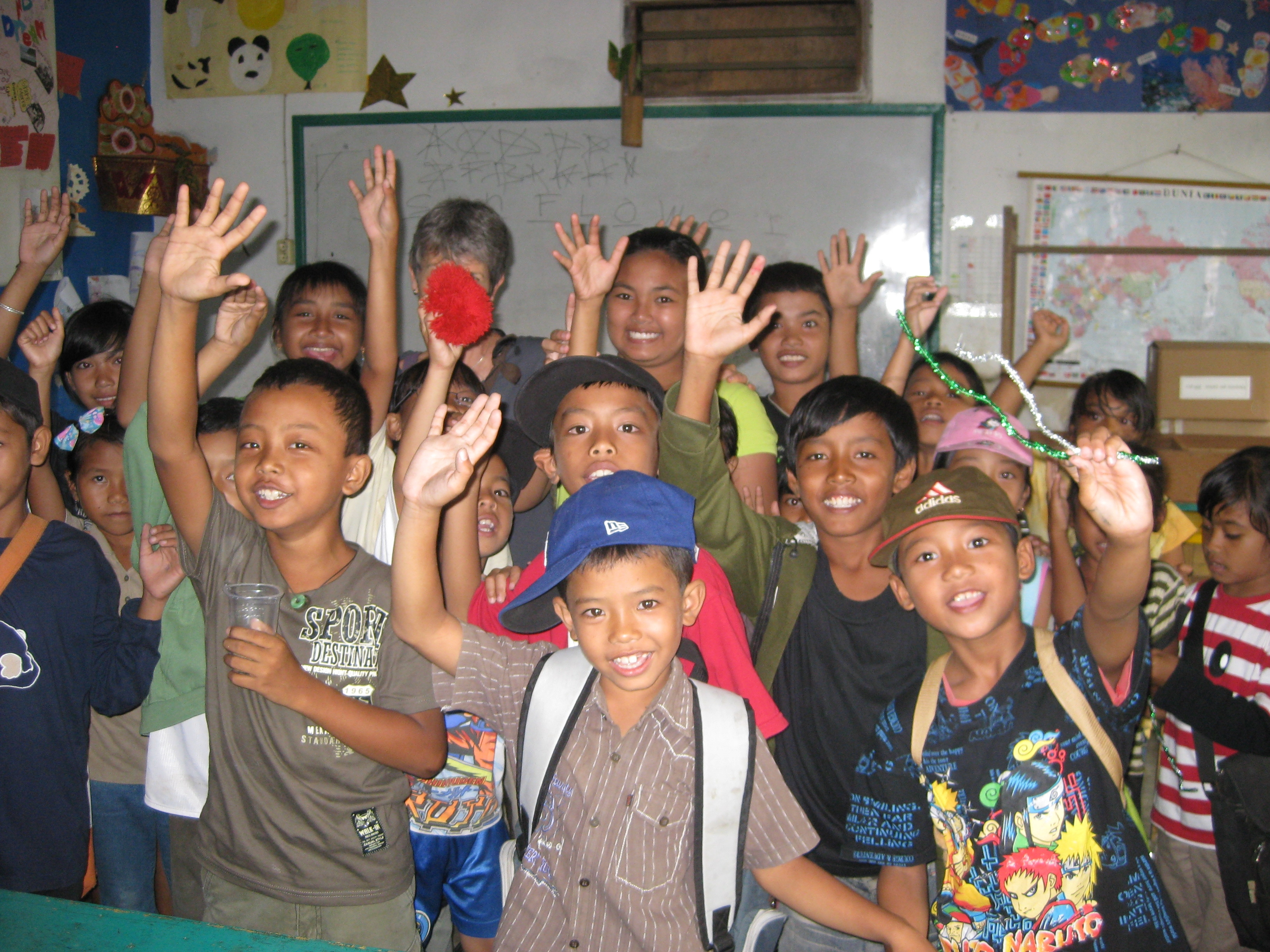 Brenda with children at Widya Guna